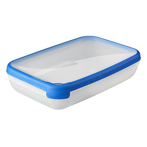 Curver 00009-082-00 Rechteckige Frischhaltedose New Grand Chef, 2,6L, transparent / blau