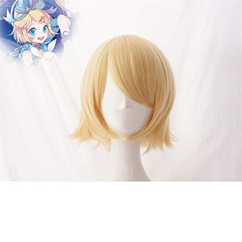 Miku Perücke Mit Kostüm Hatsune - ZYC Vocaloid Hatsune Miku Schnee Cosplay Perücke Kagamine Ren Rin Synthetisches Haar für Erwachsene,KagamineRin