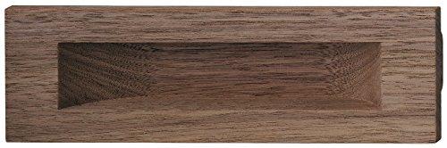 Einlass-Muschelgriff eckig Möbelgriff Holz natur - Griffmuschel aus Nussbaum - Modell H2053 | Länge 160 mm | Möbelbeschläge von GedoTec® (Stahl Schrank Nussbaum)