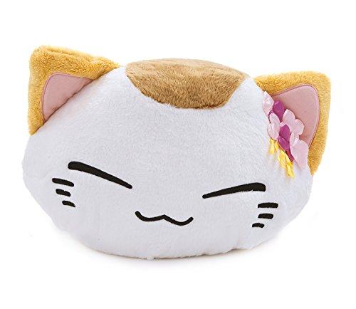 eiss mit Braunem Fleck und Blumen auf dem Kopf Nemuneko Sleepy Cat Plüsch NEU 40 x 30 cm (Orange Und Weiße Katze Kostüm)