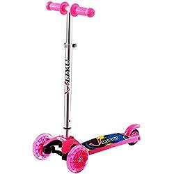 LIYU 1281F - Patinete infantil con 3 ruedas, para niños y niñas de 2 a 5 años de edad, 2 ruedas delanteras con luz LED, seguro y ajustable, rosa