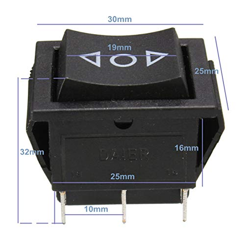 Schwarz Rocker Switch (AC 250V / 10A 125V / 15A 6-Pin DPDT Fensterheber Momentary Rocker Switch 12 V (schwarz))