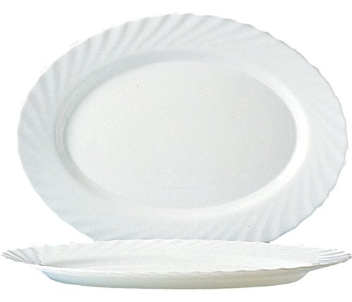 Arcoroc Trianon Uni Platte oval 35cm, 4 Stück Ovale Platte