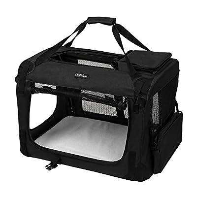 LEMAIJIAJU Portable Fabric Pet Carrier Lightweight Folding Pet Cage with Food Bag Black by LEM AIJIAJU
