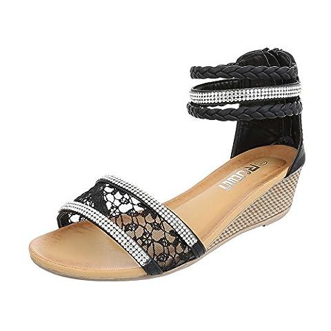 Keilsandaletten Damen-Schuhe Plateau Keilabsatz/ Wedge Keilabsatz Reißverschluss Ital-Design Sandalen / Sandaletten Schwarz, Gr 39,
