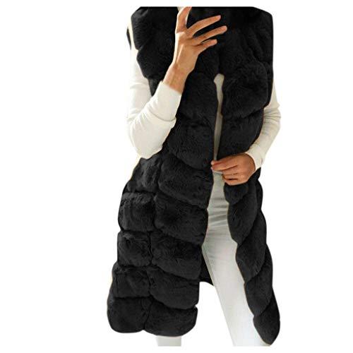 QingJiu Damen ärmelloser Mantel Kunstpelz Gilet Strickjacke Weste Langer Abschnitt Jacke Winter Warme Weste Outwear