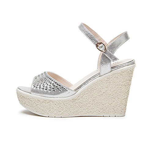 Único Salto Cunha Estilo Retro Sandálias Pailette Limpas Senhoras Spring Summer Grossas Deslizamento Casual No Planalto Baixos Sapatos Brancos