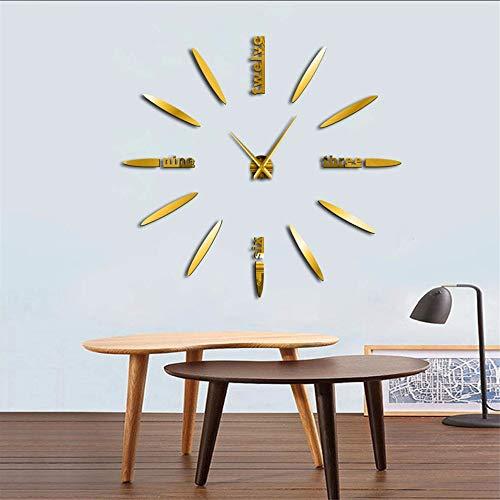 Mzdpp Rahmenlose DIY Wanduhr 3D Spiegel Wanduhr Große Mute Wandaufkleber Für Wohnzimmer Schlafzimmer HauptdekorationenZeit Uhr Gold 37 Zoll