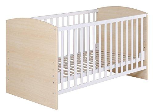 roba Kombi Kinderbett 'Lena', 70x140 cm, Babybett Ahorn/weiß, 3-fach höhenverstellbar, Baby- bzw. Kinderbett umbaubar zum Juniorbett