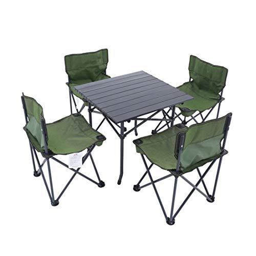 Kamiwwso Table de Pique-Nique d'extérieur Portable Pliante en Aluminium avec Table et chaises d'extérieur, Cinq pièces (Size : 4-P)