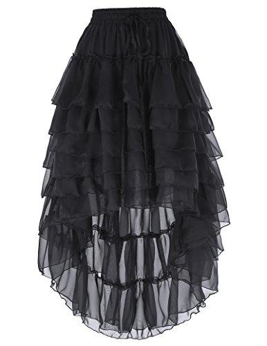 Señoras Gothic Rock Steampunk Swing Rock Asimétrico Falda de Verano Plisado Falda Elegante Falda de Fiesta Casual Strangrock Negro L BP227-1