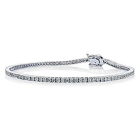 14 ct White Gold 1.5mm 1.5 ct.tw Round Cubic Zirconia Prong Set Tennis Bracelet