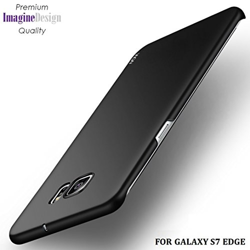 "Wow Imagine All Sides Protection ""360 Degree"" Sleek Rubberised Matte Hard Case Back Cover For Samsung Galaxy S7 Edge - Pitch Black"