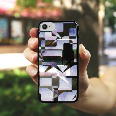 Apple iPhone X Silikon Hülle Case Schutzhülle Grafisch Kollage Modern Hard Case schwarz