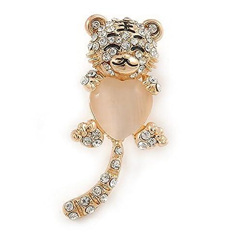 Cute Crystal Baby Tiger Brooch In Gold