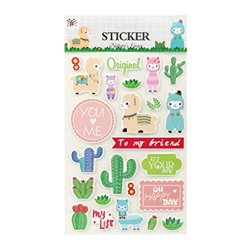 Amosfun Cactus Alpaca Stickers Decorative Stationery Stickers Lable Stickers Scrapbooking DIY Diary Album Stickers