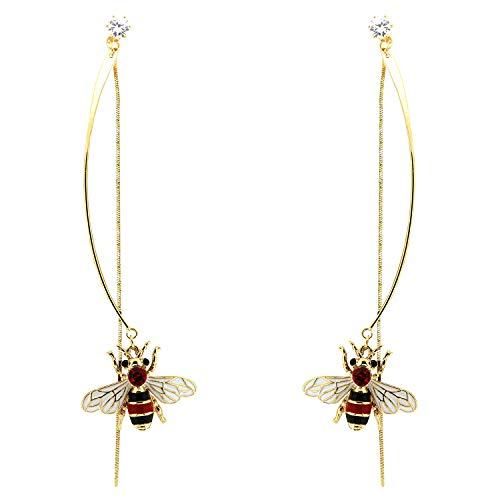 Ohrring Biene lang, gold/rot/crystal I Ohrringe für Damen & Mädchen I Ohr Schmuck-Set für Frauen I ausgefallene Ohrhänger I modische Designer-Accessoires von sweet deluxe