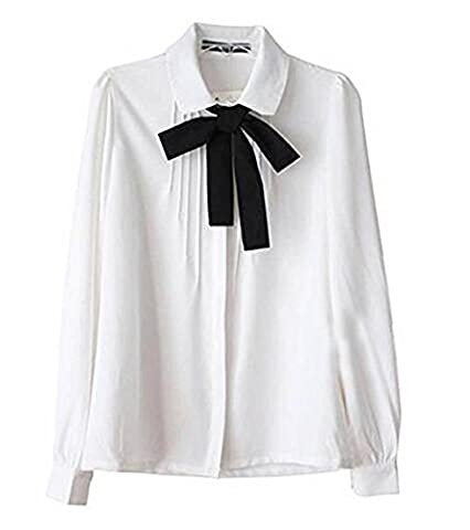 Lady Bowknot Baby Collar Long Sleeve OL Chiffon Button Shirt White