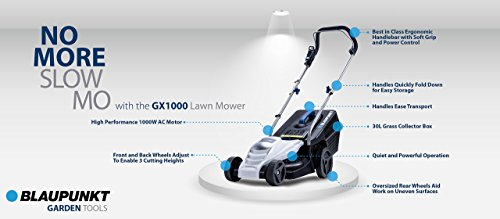 BLAUPUNKT Garden Tools GX1000 High Power Electric Push Lawnmower with 1000W AC Motor and 32cm Cutting Diameter