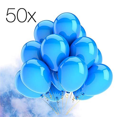 TK Gruppe Timo Klingler 50x Luftballons Ø 35 cm Luftballon Ballons Balloons blau für Helium und Luft , Geburtstag, Baby, Deko, Partydekoration, Hochzeit (blau)