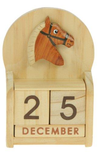 Cavallo: legno calendario perpetuo: tradizionale a mano Idee Regalo di Natale: Dimensioni 10,5 x 7 x 3,5 centimetri: Compra un insolito e stravagante regalo di Natale alternativo per un calendario dell'Avvento: unico e nuovo regalino: Regali per tutte le età! regalo per sempre