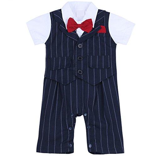 iiniim Baby Jungen Strampler Einteiler Kurzarm Spielanzug Bodysuit Overall Gentleman Smoking Anzug mit Fliege Gr.68-92 Marine 74-80/9-12 (Kostüme Prom 80)