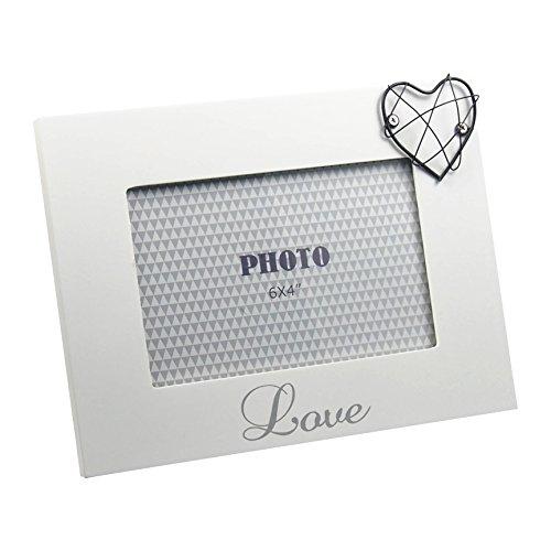 """Cornice portafoto con scritta """"love"""" con cuore bianco laccato opaco, ca. 21x 16cm per foto 15x 10cm"""