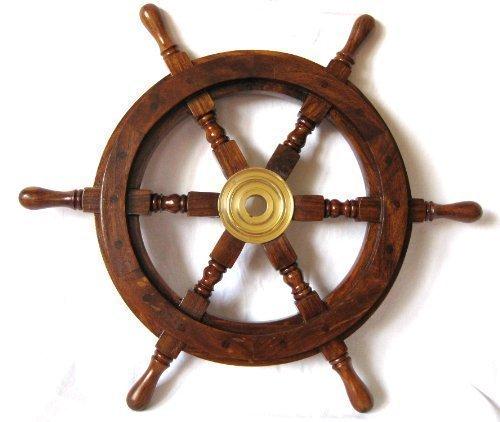 Deko Steuerrad aus Holz 30cm Durchmesser Messingnabe
