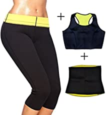 ShopyBucket Womens Slimming Workout Trousers Neoprene Thermo Active Shaper Hot Sweat Combo Set: Vests- Pants-Belt Capri Yoga Gym Fitness Legging Pant Size: L
