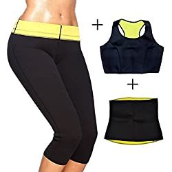MSE Women's Workout Neoprene Sports Pants Trousers 3 In 1 Combo Set: Bra- Pants-Belt Shaper Hot Pants (Size: XXL)