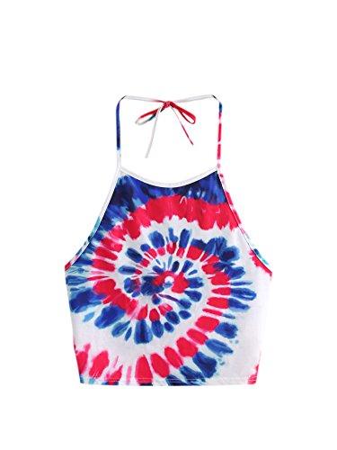 ROMWE Damen Tie Dye Crop Top Neckholder Rückenfrei Ombre Batik Trägertop Blau M (Für Neckholder-tops Frauen)