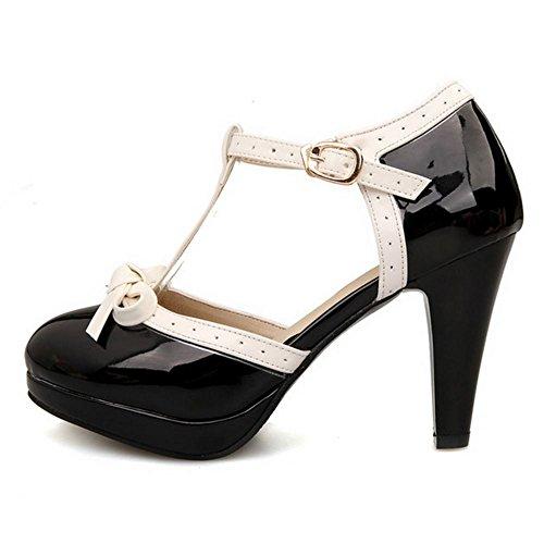 Zanpa Femmes Classique T Strap Chaussures À Talons D Orsay Plage Sandales Noir