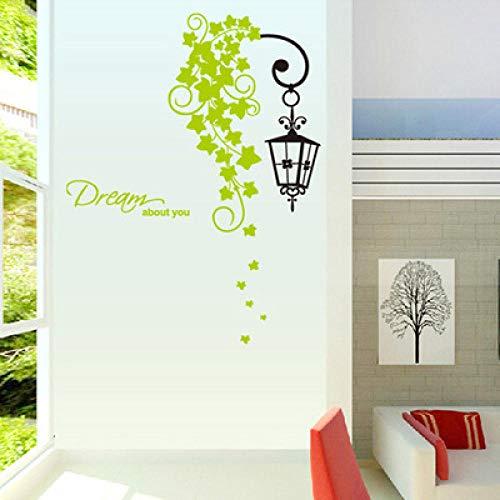 Onlymygod Green Rattan Kronleuchter Schlafzimmer Wohnzimmer TV Sofa Balkon Wanddekoration Wandaufkleber 43x52cm -