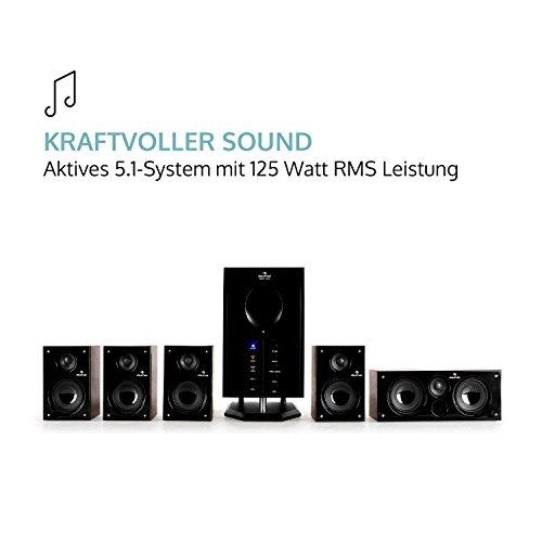 auna Areal 525 WD • Heimkinosystem • 5.1 Surround Sound System • 125 Watt RMS • Aktiv-Mono-Subwoofer • 13,5 cm (5,25″)-Sidefiring-Tieftöner • Bassreflex • fünf Satellitenlautsprecher • AUX-Eingang • Sleep Modus • Fernbedienung • Holzgehäuse • braun - 4