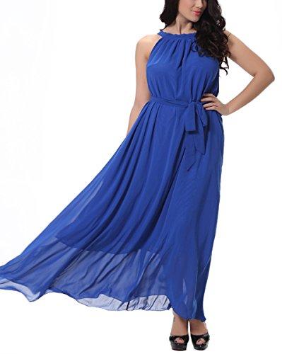 Feoya - Femme Robe Bohémien d'été Sans Manches Robe de party plage Réversible en Col Rond Robe Longue Maxi Pour Femme Fille avec une ceinture - Taille M/6XL - 4 couleurs Bleu