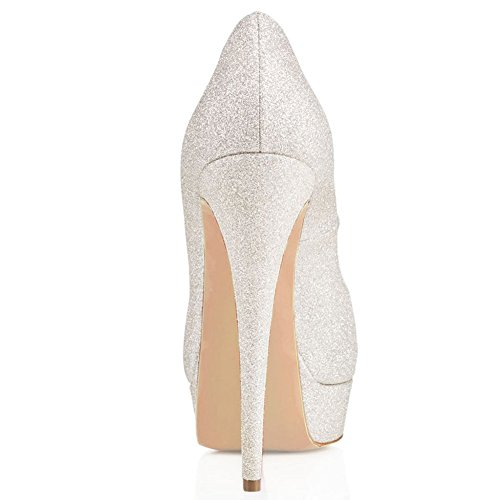 Cuckoo Frauen Peep Toe High Heels Office Schuhe Klassische Slip auf Dress Party Pumps Silber