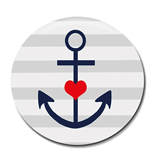 Segeln Piraten Kostüm Meer - Polarkind Button Pin maritimer Anstecker Ankermotiv Herz 38mm Handmade