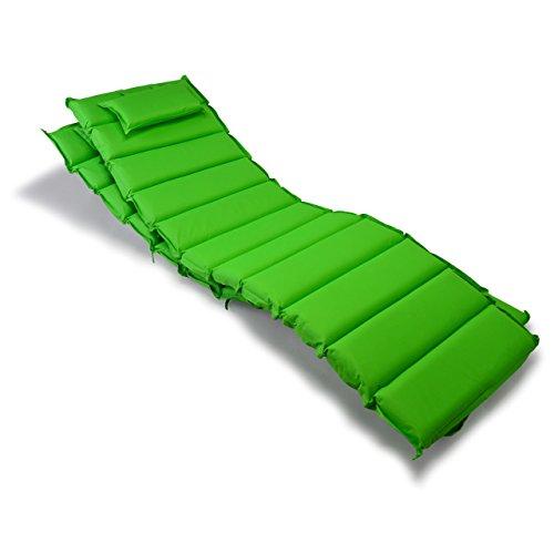 Nexos GL06032_SL2 2-er Set Liegen-Auflage Kopfkissen für Sauna Garten Terrasse aufrollbar hellgrün,