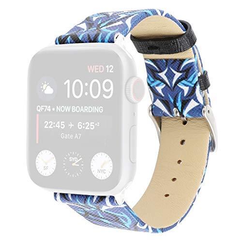 TianranRT Leder Floral Muster Bedruckt Austauschbar Band Für Apple Watch 4/3/2/1 38/40mm (B,38/40mm)