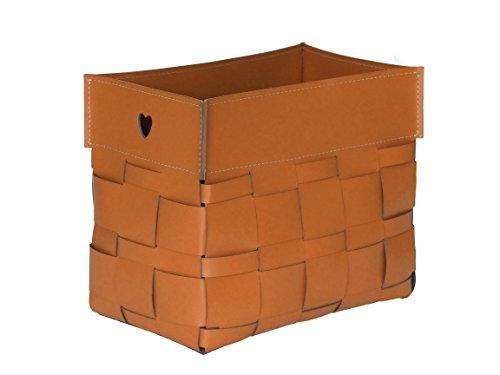 LORY: Zeitungsständer geflochten Lederfarbe Braun, Zeitschriftenständer aus Leder, Magazinhalter, Geschenkidee, Made in Italy by Limac Design®.