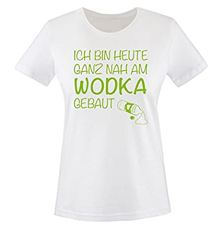 Comedy Shirts - Ich bin heute ganz nah am WODKA gebaut. - Damen T-Shirt - Weiss / Grün Gr. XXL (Grün Wodka)