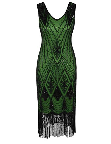 PrettyGuide Damen 1920er Gatsby Art Deco Pailletten Cocktail Charleston Kleid M Schwarz Grün