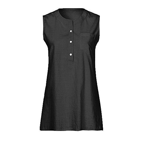 SEWORLD Damen Sommer Mode Fraue Patchwork Ärmelloses Leinen Tüll Gaze Tasche Bluse Schlank Top Tank Weste Shirt(Schwarz,EU-44/CN-2L) (2 Pocket-leinen-tunika)