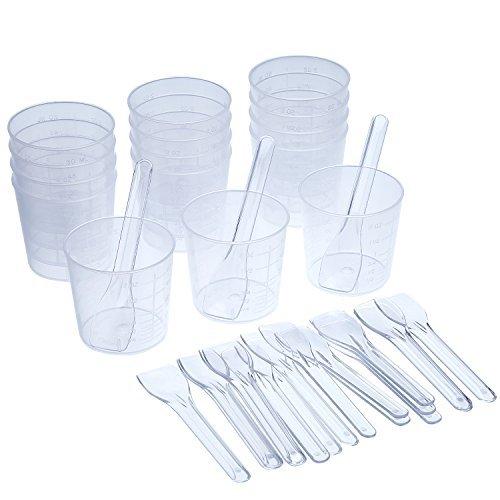 Shappy - 15 vasos plástico graduados 60 ml 20 aplicadores/palos