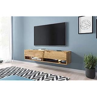 Selsey Wander - Meuble TV Suspendu/Banc TV avec LED (140 cm) (Effet chêne wotan)