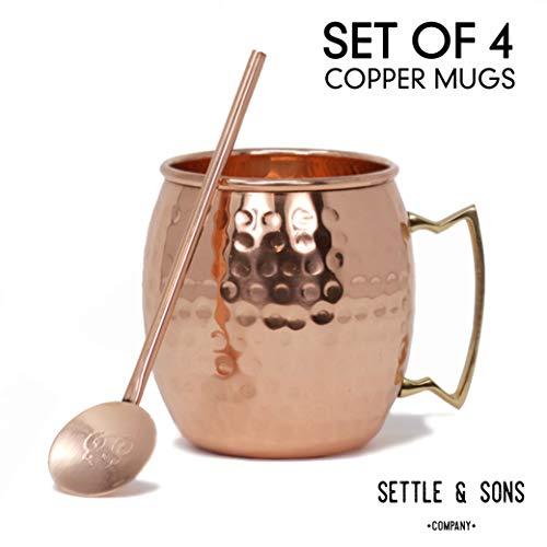 Moscow Mule Kupfer Tassen, Set von 4-16Unze 100% Solides Kupfer Tassen, und 4Kupfer Cocktail Trinkhalme Barrel Brass - Brass Cocktail