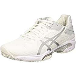 Asics Gel-Solution Speed 3 Clay, Zapatillas de Tenis Mujer, Blanco (White/Silver), 37.5 EU
