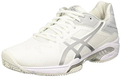 Asics Gel-Solution Speed 3 Clay, Chaussures de Tennis Femme, Blanc Cassé (White/Silver), 39.5 EU