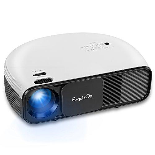 ExquizOn CL760 - LCD LED Beamer Video Projektor 3200 Lumens 1280x800 unterstützt 1080P HD 2000:1 HDMI Filme Heimkino Familien Unterhaltung für Smartphone Laptop Xbox USB Tv Box (Schwarz & Weiß)