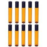 BODHI200010PCS 5ml/10ML Empty Refillable Amber Glass roller bottiglie con rullo in acciaio INOX per olio essenziale per aromaterapia, profumi e labbro balsami